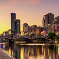 Sunset Over Skyscrapers Of Melbourne Downtown And Princes Bridge by Miroslav Liska