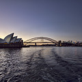Sunset Over Sydney Harbor Bridge And Sydney Opera House by Douglas Barnard