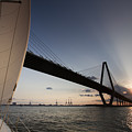 Sunset Over The Cooper River Bridge Charleston Sc by Dustin K Ryan