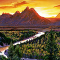 Sunset Over The Grand Tetons by David Lloyd Glover
