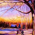 Sunset Over The Hockey Game by Carole Spandau