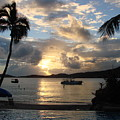 Sunset Over The Inifinity Pool At Frenchman's Cove In St. Thomas by Margaret Bobb