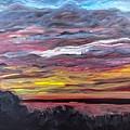 Sunset Over The Mississippi by Paula Baker