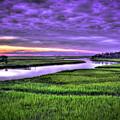 Sunset Over Turners Creek Savannah Tybee Island Ga by Reid Callaway