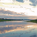Sunset Over Union Bay Tall Panorama by As the Dinosaur Flies Photography