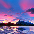 Sunset Over Vermilion Lakes by U Schade