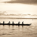 Sunset Paddlers - Sepia by Joe Carini - Printscapes