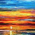 Sunset - Palette Knife Oil Painting On Canvas By Leonid Afremov by Leonid Afremov