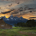 Moulton Barn Sunset Grand Teton National Park by Sun Gallery Photography Lewis Carlyle