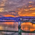 Sunset Reflections Market Street Bridge John Ross Bridge Chattanooga Tennessee by Reid Callaway
