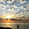 Sunset Sea Fishing  by Genevieve Vallee