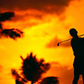 Sunset Silhouetted Golfer by Dana Edmunds - Printscapes