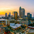 Sunset Sunrise Over Charlotte Skyline North Carolina by Alex Grichenko