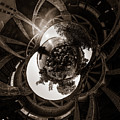 Sunset Under An Iron Sky  - Tiny Planet by Chris Bordeleau