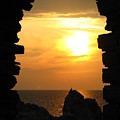 Sunset With Stone Frame by Jeff White