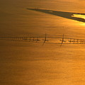 Sunshine Skyway Bridge At Sunset by T Guy Spencer