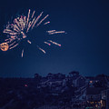 Supermoon And Fireworks  by Black Brook Photography