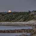 Supermoon Beachfront At Dusk  by Black Brook Photography