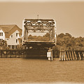 Surf City Vintage Swing Bridge In Sepia 1 by Bob Sample