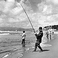 Surf Fishing At Ocean Beach by Underwood Archives
