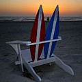 Surfboard Chair Sunset by David Lee Thompson