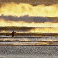 Surfer Faces Wind And Waves, Morro Bay, Ca by Sharon Foelz