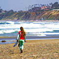 Surfer Girl At Seaside, Ca by Waterdancer