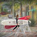 Surfer Girl Walking by Bill Posner