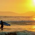 Surfer In The Golden Ocean by Daniel Hernandez