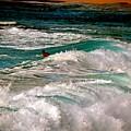 Surfer On Surf, Sunset Beach by Debra Banks