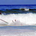 Surfers At Asilomar State Beach Three Oopsy Daisy by Joyce Dickens