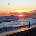 Surfers At Sunset by Frank Freni