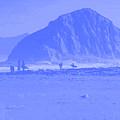 Surfers On Morro Rock Beach In Blue by R Muirhead Art