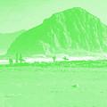 Surfers On Morro Rock Beach In Green by R Muirhead Art