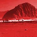 Surfers On Morro Rock Beach In Red by R Muirhead Art