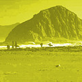 Surfers On Morro Rock Beach In Yellow by R Muirhead Art
