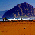 Surfers On Morro Rock Beach by R Muirhead Art