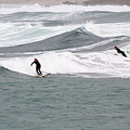 Surfing At Sennen Cove Cornwall by Chris Smith