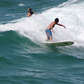 Surfing The White Wave At Huntington Beach by Colleen Cornelius