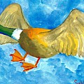 Surprised Flying Duck Detail Of Duck Meets Fairy Ballet Class by Sushila Burgess