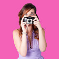 Surprised Woman Taking Picture With Old Camera by Jorgo Photography - Wall Art Gallery
