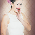 Surprised Woman With Brunette Hair And Red Lips by Jorgo Photography - Wall Art Gallery