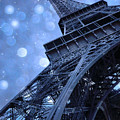 Surreal Blue Eiffel Tower Architecture - Eiffel Tower Sapphire Blue Bokeh Starry Sky by Kathy Fornal