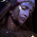 Surreal Celestial Angelic Face With Stars And Moon - Purple Moon Celestial Angel  by Kathy Fornal
