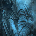 Surreal Cemetery Grave Mourner In Blue Sorrow  by Kathy Fornal