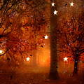 Surreal Fantasy Autumn Woodlands Starry Night by Kathy Fornal