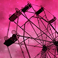 Surreal Fantasy Dark Pink Ferris Wheel Carnival Ride Starry Night - Pink Ferris Wheel Home Decor by Kathy Fornal