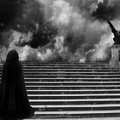 Surreal Gothic Infrared Black Caped Figure With Gargoyle On Paris Steps by Kathy Fornal
