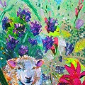 Surreal Sheep And Flowers - Hiding In The Garden by Mike Jory