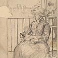 Susan On A Balcony Holding A Dog [recto] by Mary Cassatt